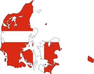 Die Karte und Flagge Dänemarks.