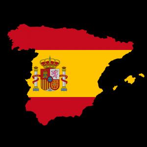Die spanische Karte und Flagge.