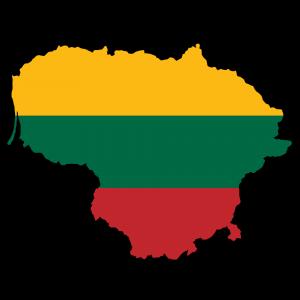 Die Flagge und Karte Litauens.