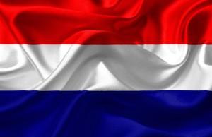 Die dreifarbige niederländische Flagge.