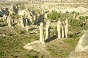 Die Landschaft Kappadokiens in der Türkei