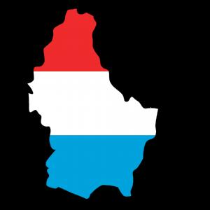 Karte und Flagge von Luxemburg.