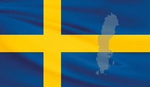 Flagge und Karte von Schweden.