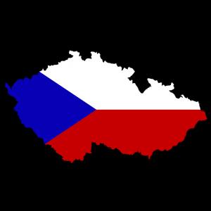 Die tschechische Flagge und Karte.