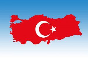 Die Umrisse der türkischen Landkarte.