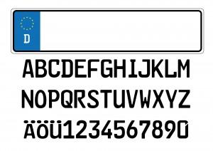 Deutsche Autokennzeichen verwenden auf den neuen EU-Kennzeichen die sogenannte FE-Schriftart. Diese soll gegenüber der alten DIN-Schrift leserlicher auf großen Entfernungen sein.