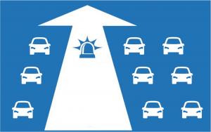 Die Rettungsgasse wird zwischen der linken und den übrigen Fahrbahnen gebildet.