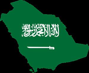 Die Landesflagge und Karte von Saudi-Arabien.