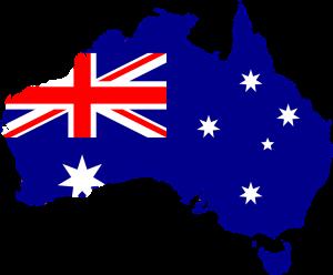 Die Landesflagge und Karte von Australien.