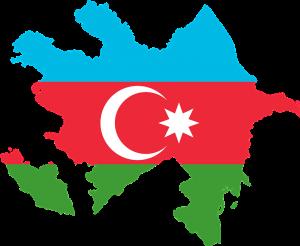 Die Karte und Flagge von Aserbaidschan.