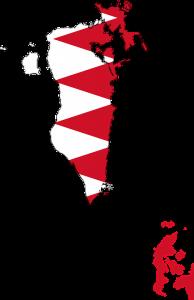 Landeskarte und Landesflagge von Bahrain.