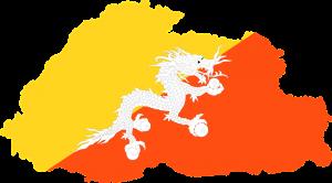 Die Landesflagge und Landeskarte von Bhutan.
