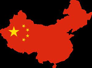 Die Landesflagge und -karte der Volksrepublik China.