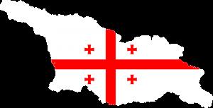 Die Landeskarte und Landesflagge von Georgien.