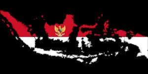 Die indonesische Flagge und Karte in einem.
