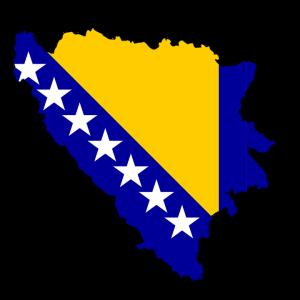 Die Flagge und Karte von Bosnien und Herzegowina.