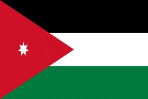 Die Landesflagge Jordaniens.