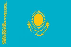 Die Landesflagge von Kasachstan.