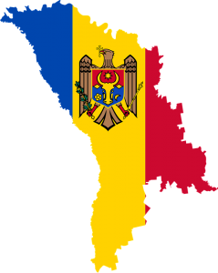 Die Landesflagge und -karte Moldawiens.