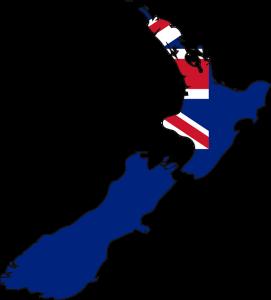 Die Landesflagge und Karte von Neuseeland.