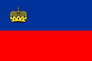 Die Landesflagge von Liechtenstein.