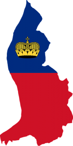 Landesflagge und -karte von Liechtenstein in einem.