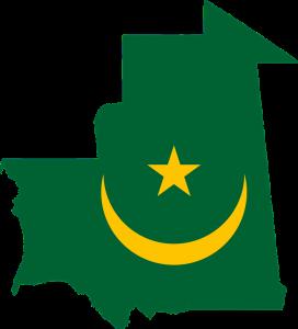 Die Landesflagge und Karte von Mauretanien.