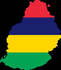 Die Landeskarte- und flagge von Mauritius.