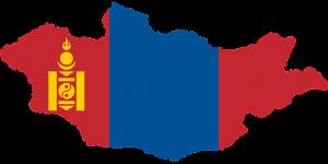 Die Landesflagge und -karte der Mongolei.