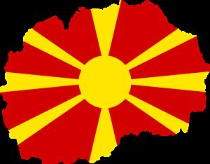 Die Karte und Flagge von Mazedonien.
