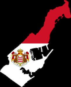 Die Landesflagge und Karte von Monaco.