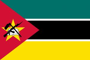 Die Nationalflagge von Mosambik.