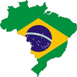 Die Landkarte und Flagge Brasiliens.